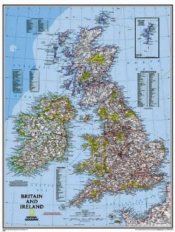 National Geographic Wall maps of Great Britain & Ireland